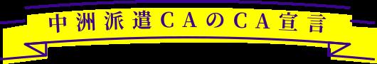中洲派遣CAのCA宣言